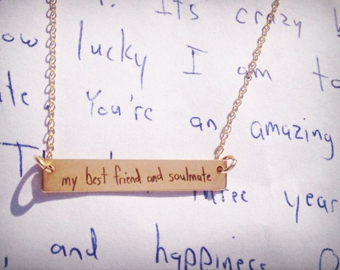 """Handwriting Bar Necklace (1.2"""" x .2"""") Rose Gold Yellow Gold Sterling Silver. Your message in a font or handwriting, perfect gift"""