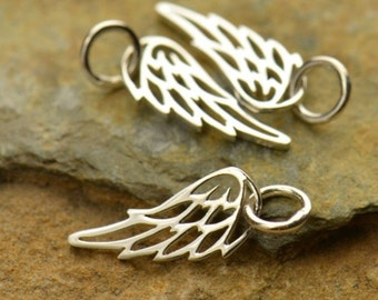 Angel Wing Charm - Sterling Silver Angel Wing - Angel Wing Jewelry