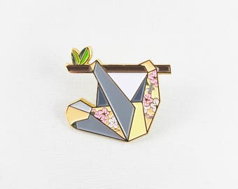 Origami Sloth Soft Enamel Pin,Enamel Pin,Origami Jewelry,Sloth Pin,Origami Sloth,Pin,Sloth Gift,Enamel Pins,Sloth Jewelry,Stocking Stuffer