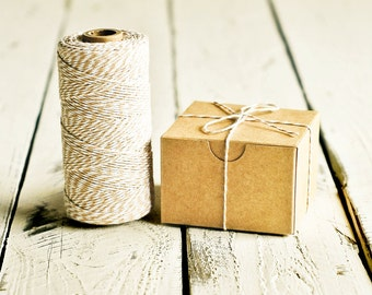 Baker's Twine in Beige & White - 10 Yards - Bakers Flax Packaging Gift Wrapping String Cord Trim Ribbon Pretty Vintage Party Crafting Decor