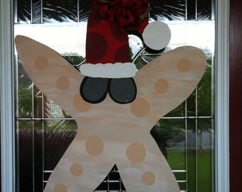 Christmas Starfish Wooden Door Hanger