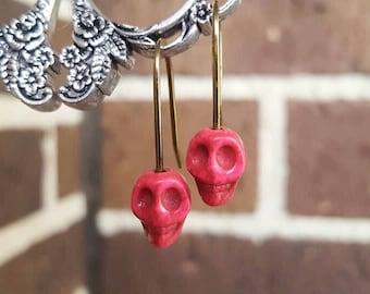 Constanza Sugar Skull Day of the Dead Halloween Pink brass earrings