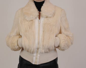 70's/80's Cream Rabbit Fur Bomber Jacket with White Leather Trim Size M