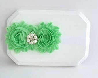 Pastel Mint Newborn Headband, Newborn Photography, Mint Baby Headband, Infant Headband, Flower Girl Headband, White Headband, Mint Baby Bows