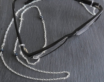 Faith Eyeglass Chain Cross Charm glasses lanyard  Beaded spectacle holder silver plate reading glasses necklace eyewear accessory cwtchus