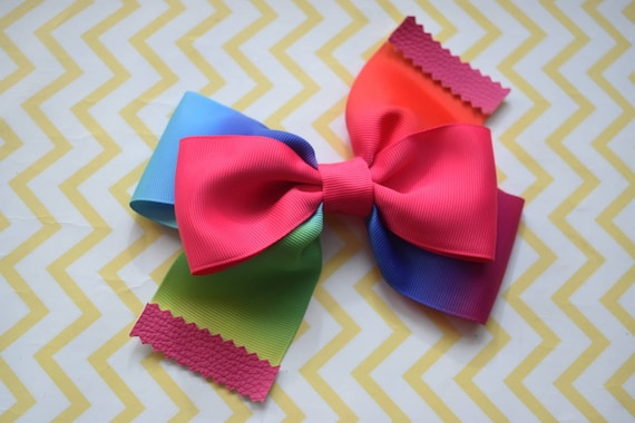Pink Rainbow Bow with Faux Leather Tips - Baby / Toddler / Girls / Kids Headband / Hairband / Hair bow / Barette / Hairclip