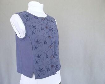 Blue Embroidered Vest - Vintage Short Vest, Size Small