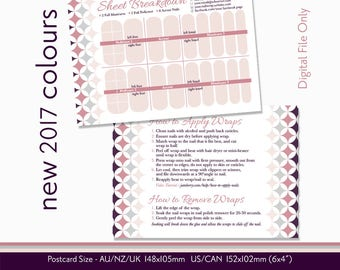 Nail Wrap Breakdown Card with Application-Removal Instructions / DIGITAL File / Customised with your Information / 2017 Jamberry Colours