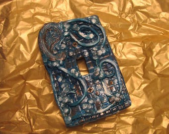 Light switch plate cover, resin light switch cover, handmade,hand painted, made to order
