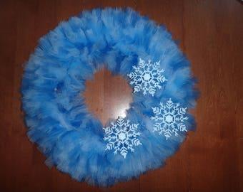 Extra Full Winter Snow Tulle Wreath