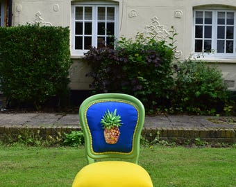 Hand embroidered Statement chair ,Pineapple chair,Quirky chair,Unusual chair,Colourful chair