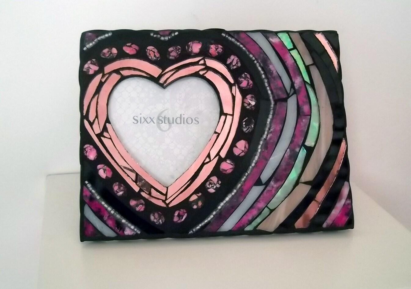 Herzförmigen Bilderrahmen Pink und schwarz
