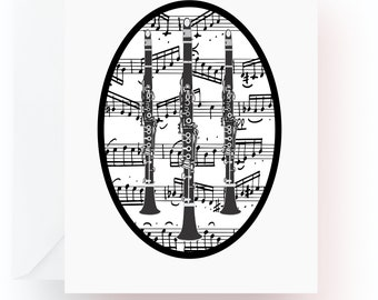 Clarinet Note Cards, Music Note Cards, Stationery, Note Cards, Blank Cards, Music Teacher Gift, Music