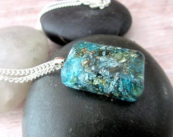 Blue Resin Pendant with Gold Flakes - Girlfriend Gifts Under 20 - Mermaid Gift - Blue Jewelry - Everyday Necklace - Summer Jewelry - Boho