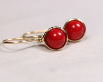 Red Coral Vine Earrings Japanese Jewelry Red Berry Gold