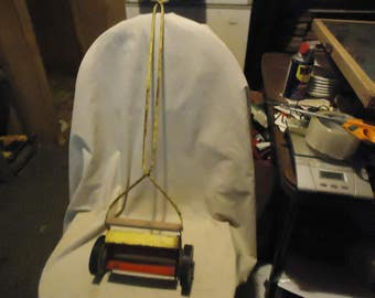 Vintage Metal Toy Push Lawn Mower, collectable