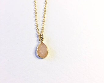 Pink druzy,gold fill necklace,graduation gift,gift for her,druzy necklace,pink druzy drop, pink druzy charm, birthday gift, druzy