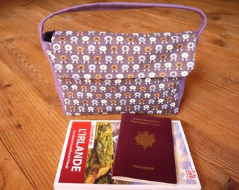"""Multi travel pouch pockets """"Flowers and stars in purple and blue"""" cotton"""