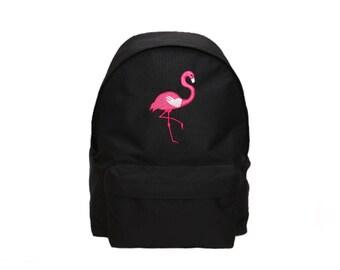 Flamingo Embroidery Backpack (Black)