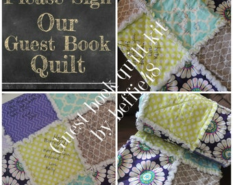 Make a Gift, Guest Book  Quilt Kit, Forever Memory, FAST Shipping, Personalized