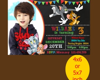 Baby Tom And Jerry Invitation, Baby Tom And Jerry Invitation, Baby Tom And Jerry Birthday, Tom And JerryParty, Printable, Instant Download