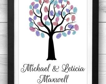 Wedding Thumbprint Tree Guest Book, Finger Print Tree Guest Book