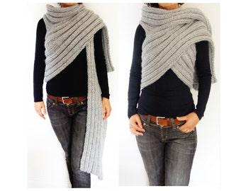 Wrap Knitting Pattern - Zendeya Inspired Wrap/Bulky Scarf/Super Chunky Poncho/Easy Knit Ribbed Jacket