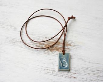 seahorse pendant, summer jewelry, ocean inspired, blue pendant, seahorse necklace, coastal jewelry, ceramic pendant, gender neutral, casual