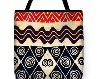 African Tribal Wave Graphic Design Tote Bag - ReUsable Grocery Bag - HouseWarming Decorative Gift - African Decorative Graphic Throw Pillow