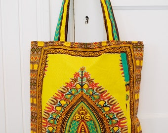 Tote Bag in African Wax Print Fabric . Made in Tanzania. Cotton, yellow, teal, red. Traditional print shopping bag.