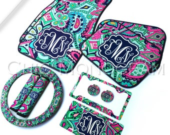 Car Gift Set Monogrammed Car Accessories Set Car Floor Mats Steering Wheel Cover & Seat Belt Covers License Plate Frame Car Coasters Custom