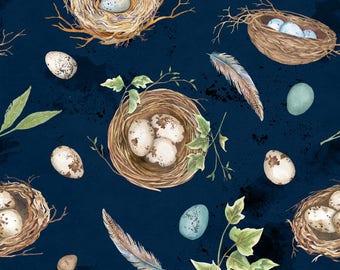 Bird Nest, Eggs, Bird walk - Nature Study by Nancy Mink for Wilmington Prints Fabric - 33823 424 Blue - Priced by the half yard