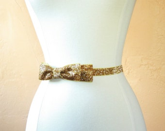 Sparkly Gold Belt with Bow