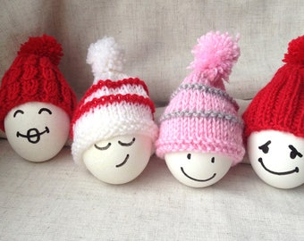 Hand Crochet Easter Cozy Egg Hats, Set of 7 Knit Egg Warmers Dining Ornaments
