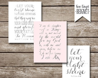 50% off sale - Let Your Light Shine - Matthew 5:16 - Set of Three Instant Downloads 8x10 - Silver Foil Look - Daughter of a King