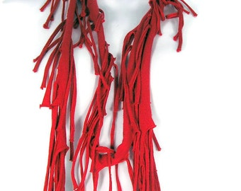 Bohemian Red Fringed Scarf Red Fringe Scarf Hippie Fringe Scarves Cotton Fringed Scarves Boho Fringe Scarves Red Cotton Scarves