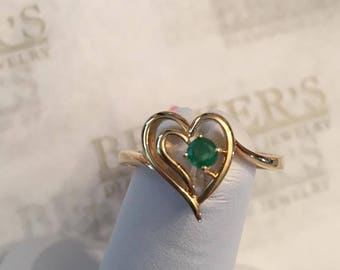 Vintage 14k yellow gold Heart within a Heart Ring with a Round, 3mm Emerald, .11 ct, size 6.75