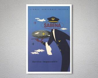 Sabena Service Impeccable,  Lignes Aériennes Belges Vintage Travel Poster - Poster Print, Sticker or Canvas Print / Gift Idea