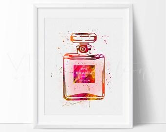 Coco Chanel Perfume Bottle Fashion Art Print Wall Decor, Coco Chanel Watercolor Art, Fashion Illustration, Home Decor, Not Framed, No. 120