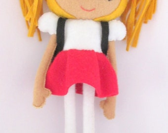 School Girl Felt Doll PDF Pattern. Instant Download. Soft Toy Pattern.