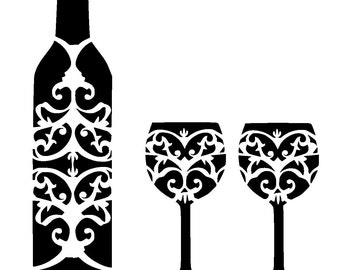 """12/12"""" wine bottle and glass's stencil."""