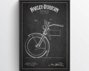 1925 Harley Davidson Patent Wall Art Poster, Harley Davidson Poster, Harley Davidson Print, Home Decor, Gift Idea, TRBM07P