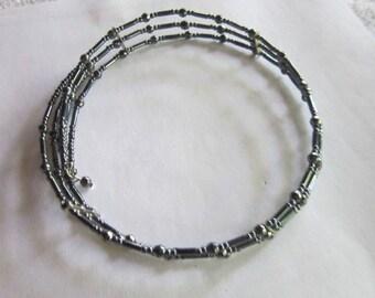Vintage Triple Strand Blue Black Glass Beaded Choker Necklace