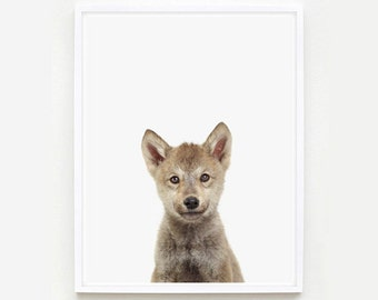 Baby Animal Nursery Art Print: Wolf Pup Little Darling.