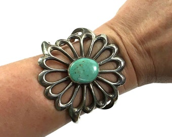 """60s Navajo Sterling Cuff / Vintage Native American Sand Cast Silver & Turquoise Bracelet / Large 2.5"""" Tall Southwest Boho Women Small Wrist"""
