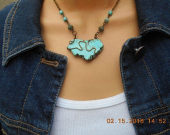Turquoise Southwestern Wire Wrapped Choker/Necklace, Turquoise Choker, Southwest Choker, Turquoise Choker/Necklace
