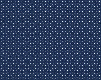 Navy Polka Dot Fabric - Riley Blake Swiss Dot - Navy Blue Polka Dot Fabric By The 1/2 Yard