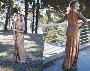 Rose Gold sequin prom dress/rose gold sequin dress/sequin wedding dress/ gold sequin dress/ long gold sequin dress/ sequin bridesmaids dress