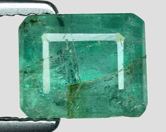 1.62cts Green Emerald Cut Emerald Natural Loose Gemstone
