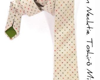 Men Necktie - Woven yarn dyed cream with orange, green, yellow dots tie